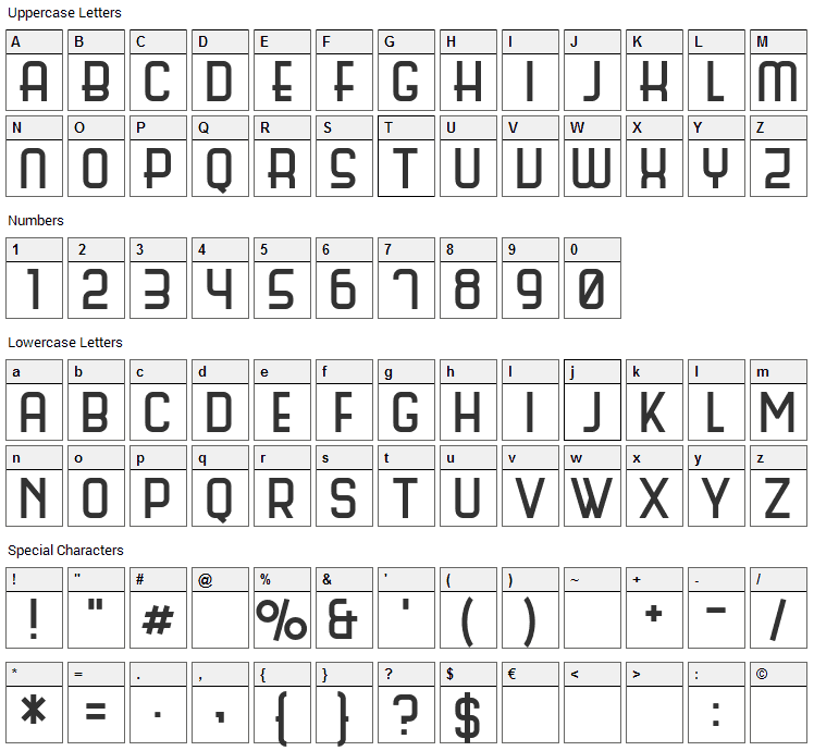 Science Fair Font Character Map