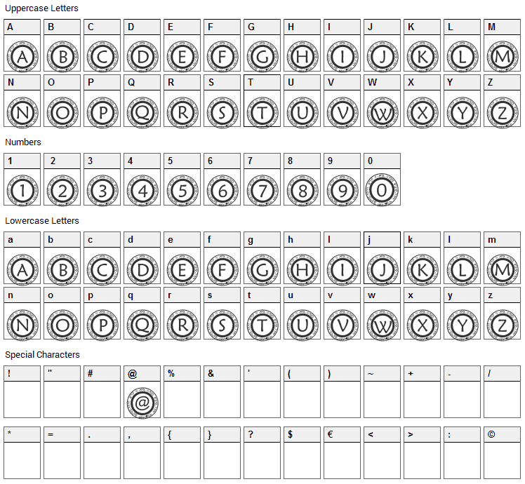 Scircle1 Font Character Map