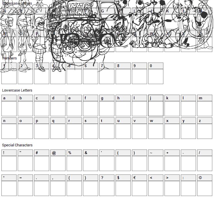 Scoobats Font Character Map