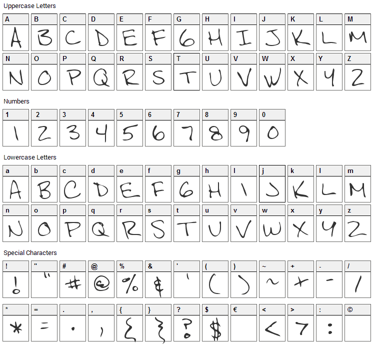 Scott Font Character Map