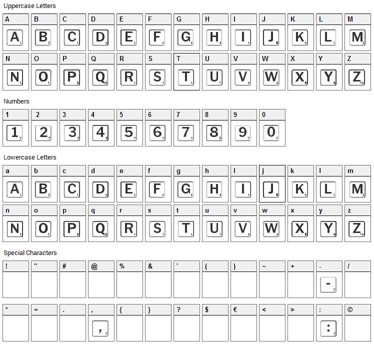 Scrabbles Font Character Map