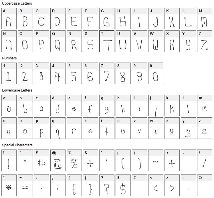 Scrambled Ergs Font Character Map
