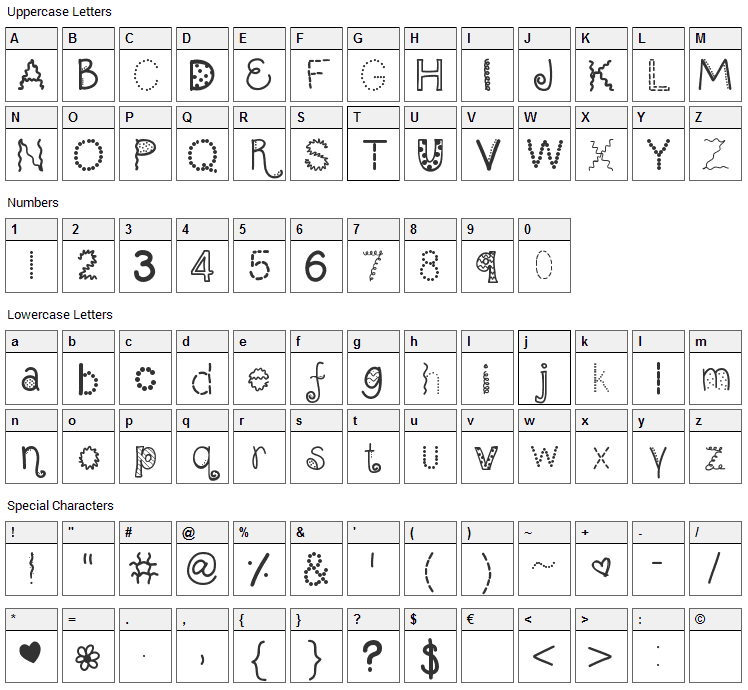 Scrap It Up Font Character Map