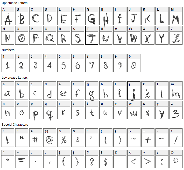 Scratch Basic Font Character Map