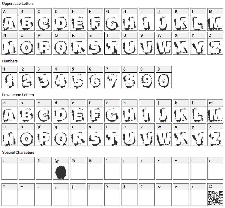 Scratch To Reveal Font Character Map