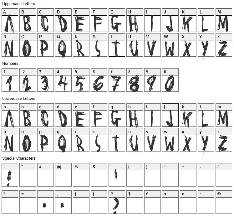 Scrawl Font Character Map