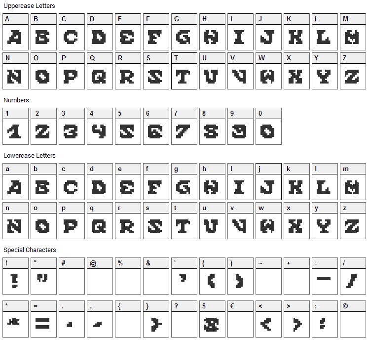 Scream When You're Ready To Die Font Character Map