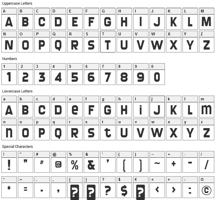 Screengem Font Character Map