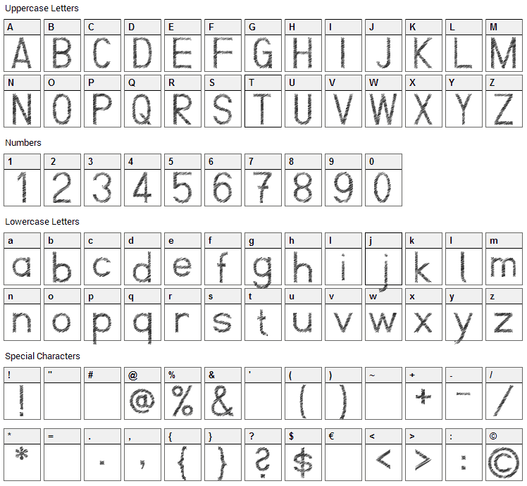 ScrFIBbLE Font Character Map