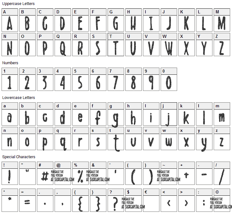 Scribblet Font Character Map