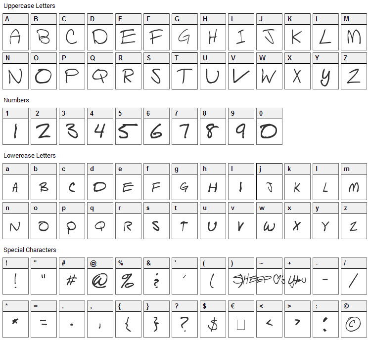 Script of Sheep Font Character Map