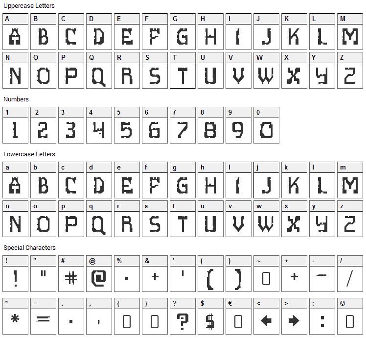 Scritzy X Font Character Map