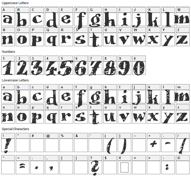 Scrubble Font Character Map