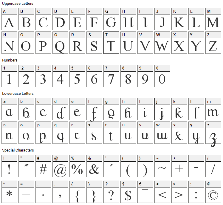 Scrypticali Font Character Map