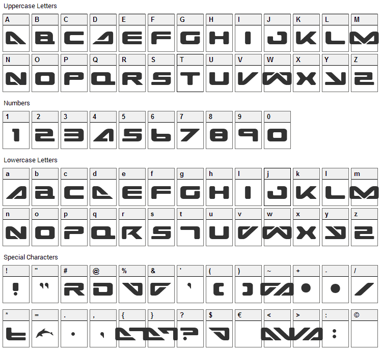 Sea Dog 2001 Font Character Map