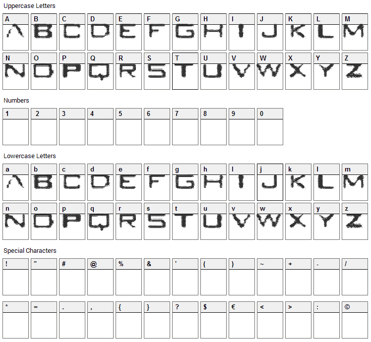 Seabreed Font Character Map