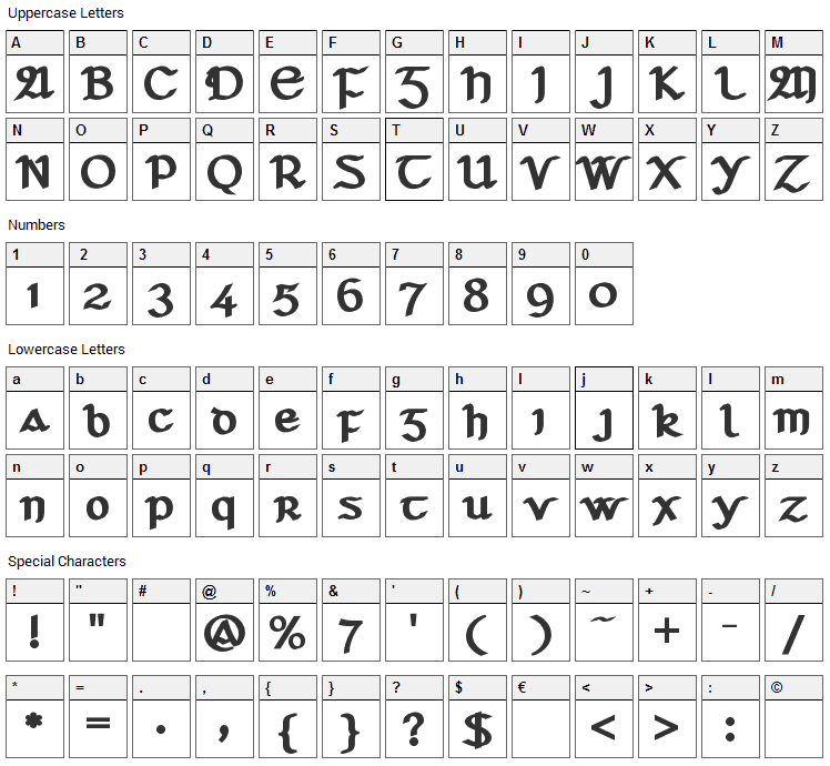 Seanchlo Dubh Font Character Map