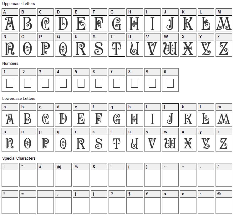 Secesja PL Font Character Map
