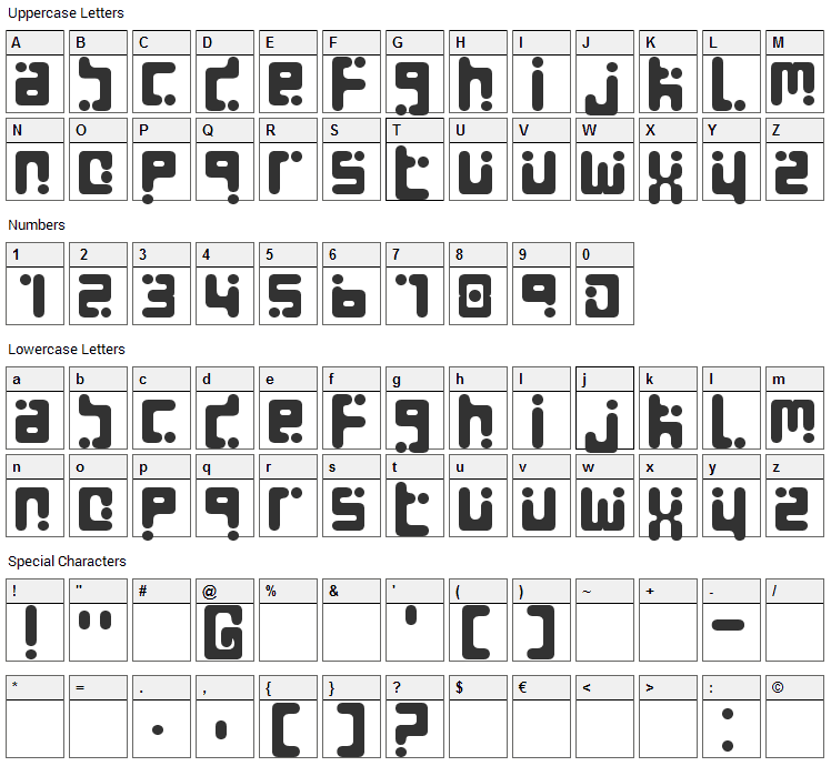 Seeds Font Character Map