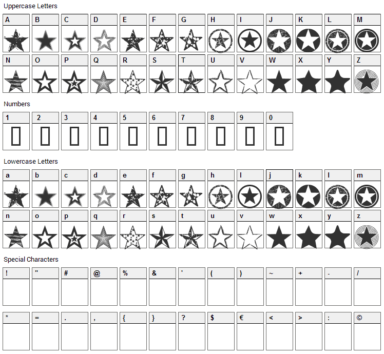 Seeing Stars Font Character Map