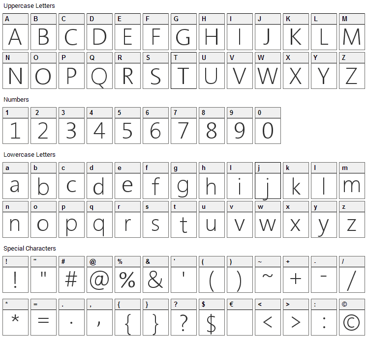 Segan Font Character Map