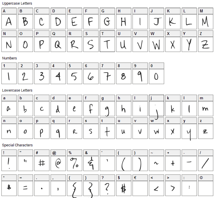 Sekona Font Character Map