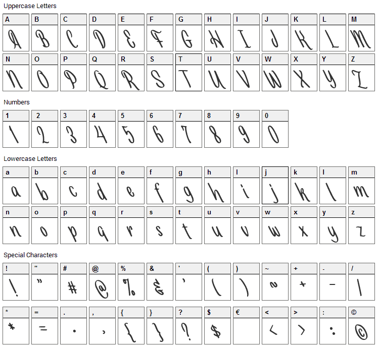 Selasa Font Character Map
