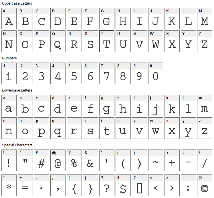 Selectric Font Character Map