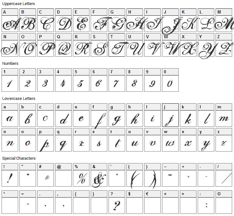 Selfish Font Character Map