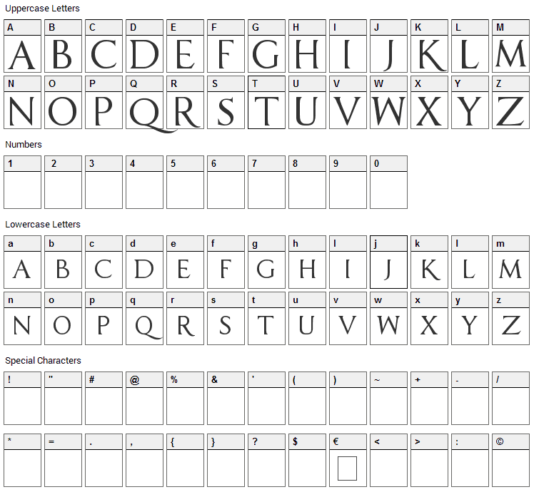 Sell Your Soul Font Character Map