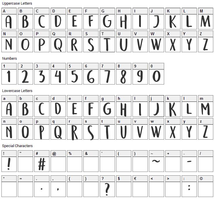 Semringah Font Character Map