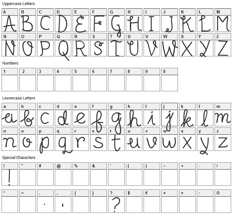 Senyum Font Character Map