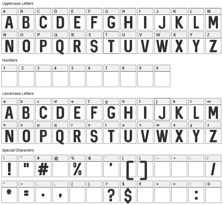 Sequel Font Character Map