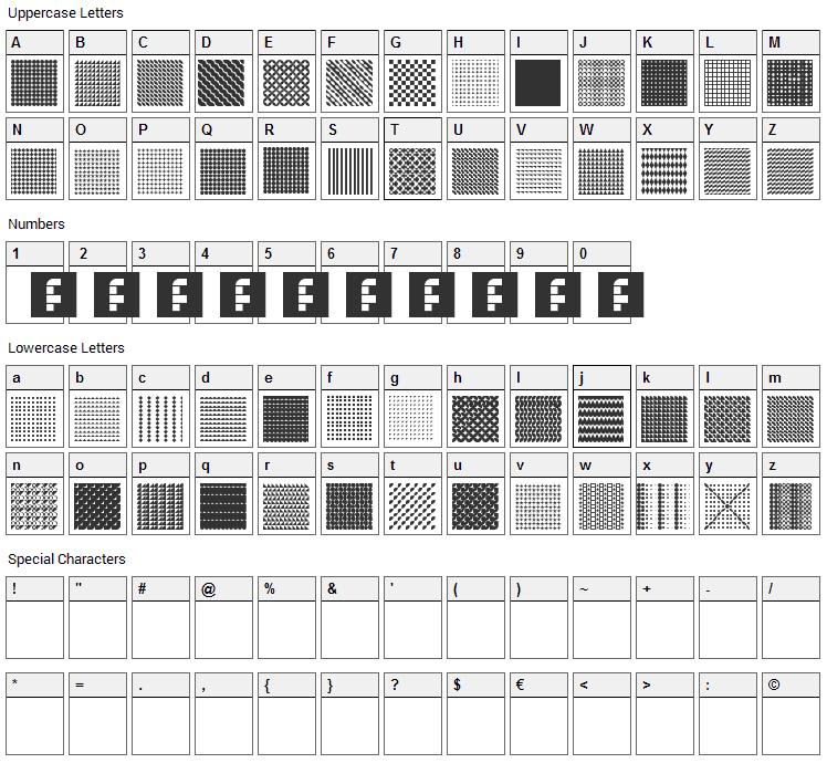 Serangkaian Pattern Font Character Map