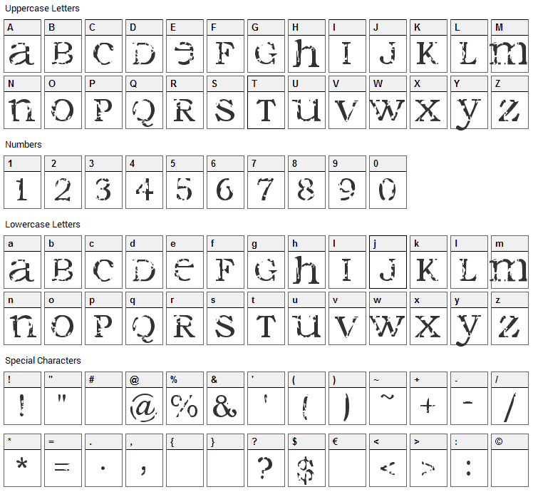 Seraphim Font Character Map