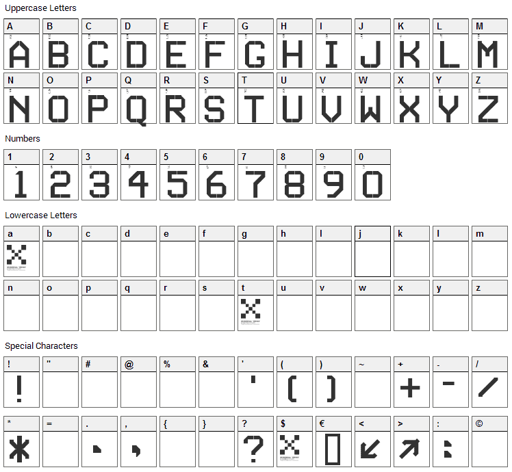 Series Font Character Map