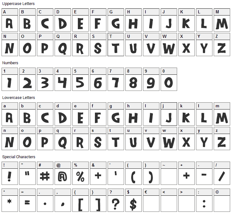 Series Orbit Font Character Map