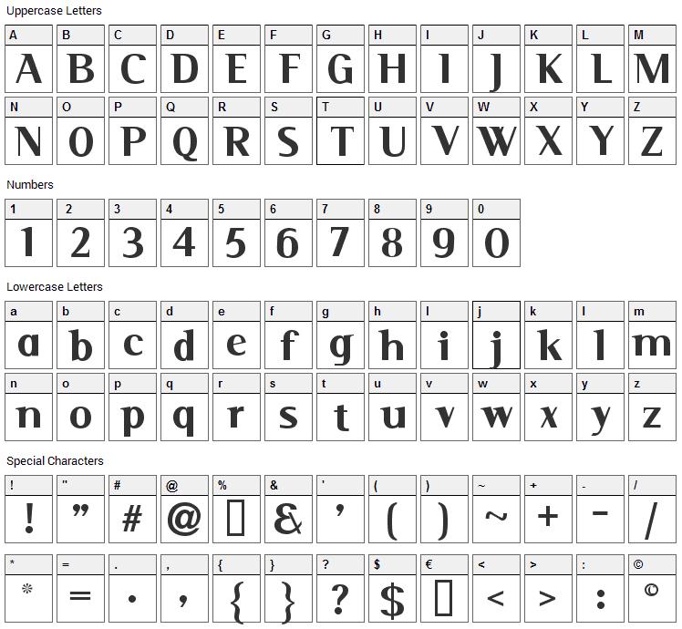 Serif Font Character Map