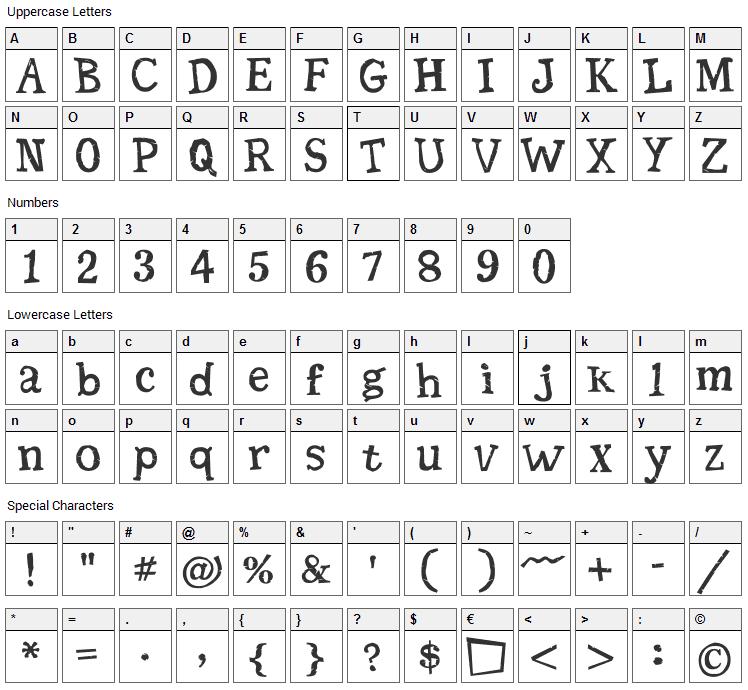 Seriffic Grunge Font Character Map