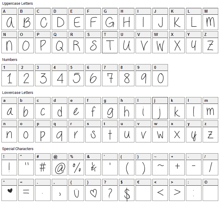 Seriously Font Character Map