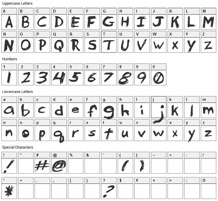 Serpico Font Character Map