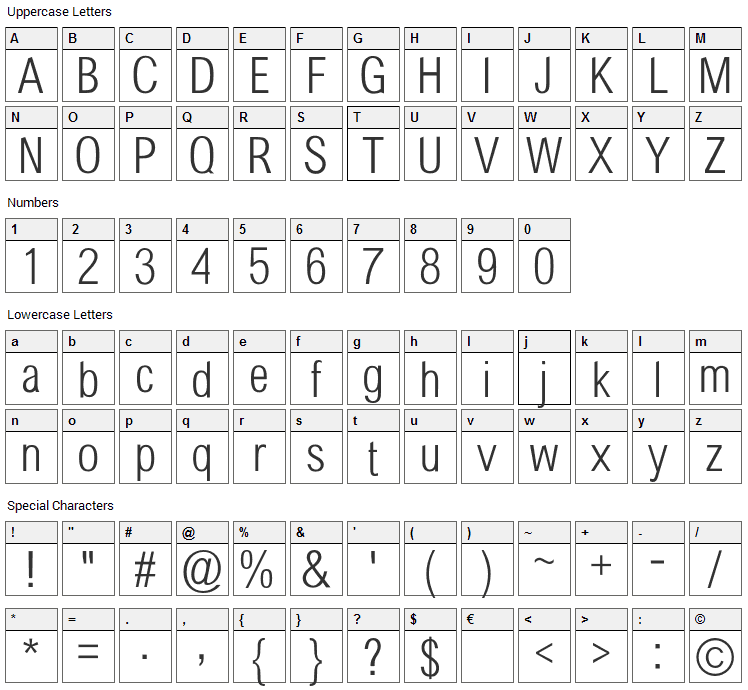 Sertig Font Character Map