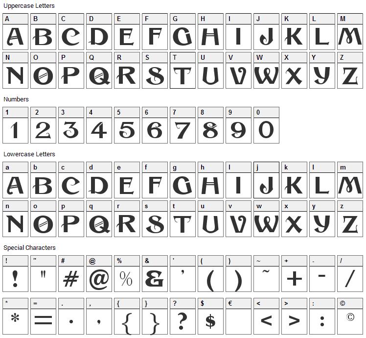 Sesame Font Character Map