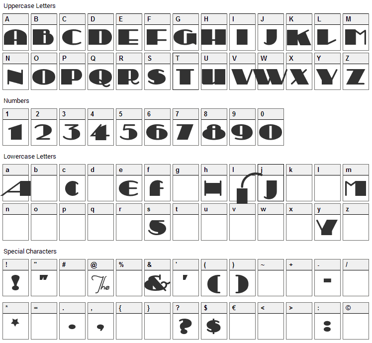 Sesquipedalian Font Character Map