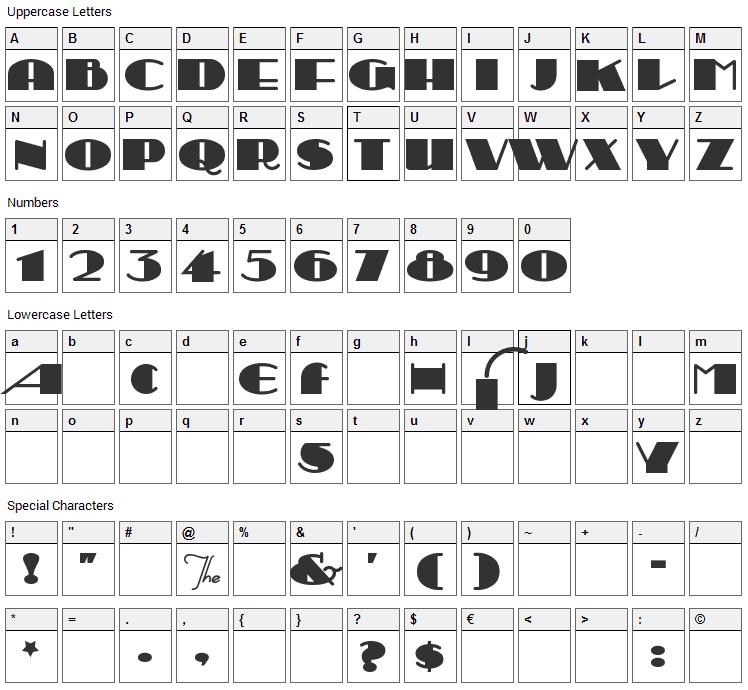 Sesquipedalian Font Character Map