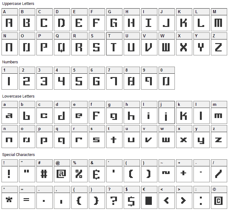 Setback Font Character Map