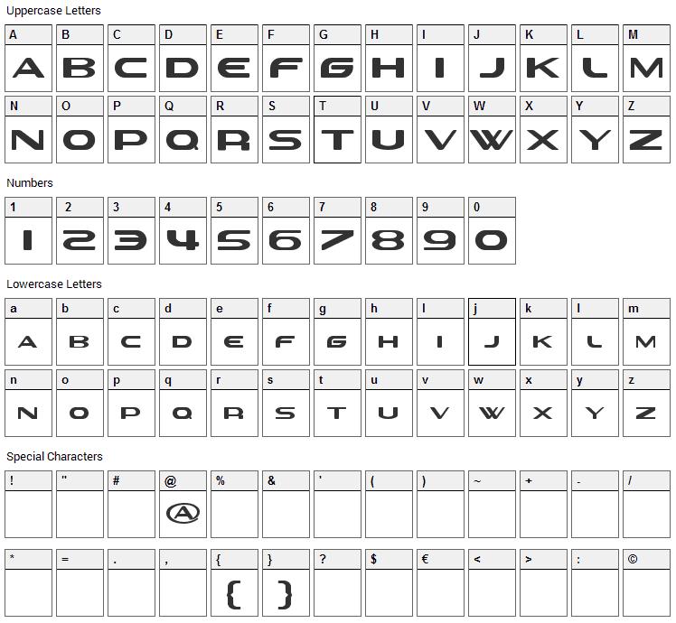 Sevil alias Esra lite Font Character Map