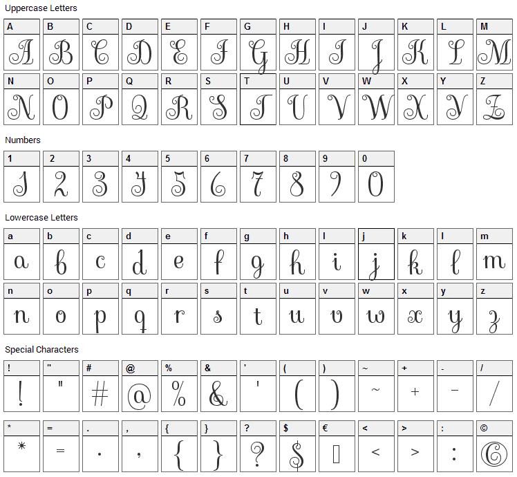 Sevillana Font Character Map
