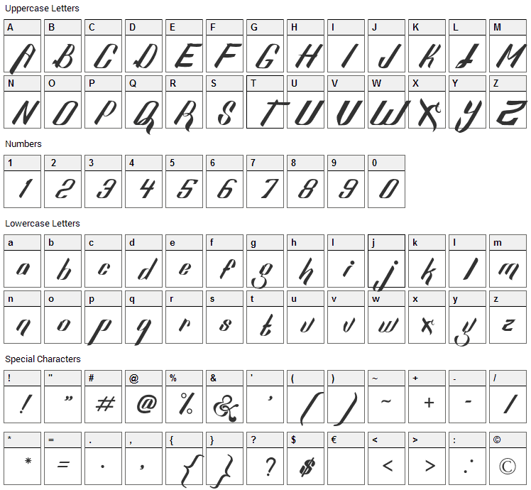 Sexy Shout Font Character Map