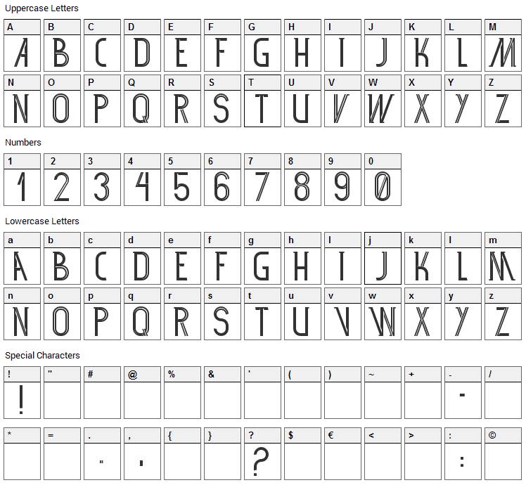 SF 360RT Font Character Map